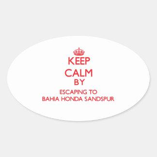 Guarde la calma escapándose a Bahía Honda Sandspur Calcomania Óval Personalizadas