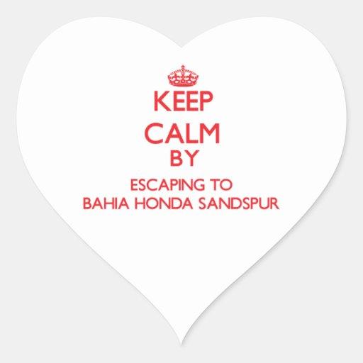 Guarde la calma escapándose a Bahía Honda Sandspur Calcomanía De Corazón Personalizadas