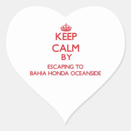 Guarde la calma escapándose a la costa Flo de Pegatina De Corazon Personalizadas