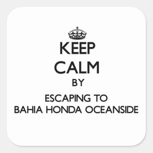 Guarde la calma escapándose a la costa Flo de Calcomanía Cuadrada Personalizada