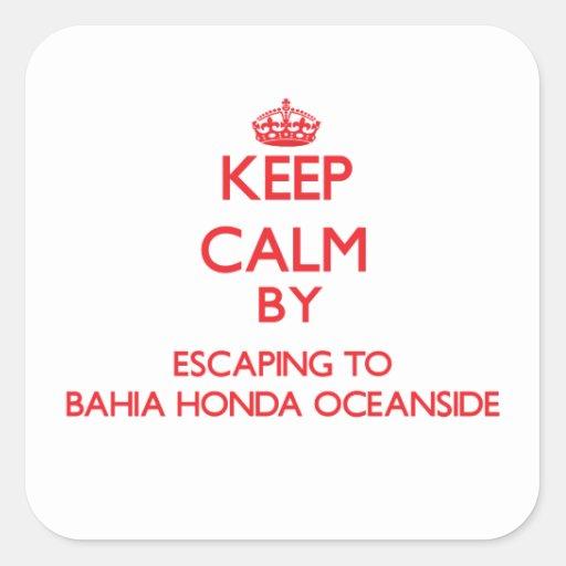 Guarde la calma escapándose a la costa Flo de Calcomanías Cuadradas