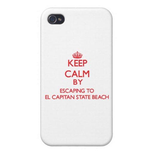 Guarde la calma escapándose a la playa de estado d iPhone 4 funda