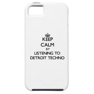 Guarde la calma escuchando DETROIT TECHNO iPhone 5 Case-Mate Cárcasas