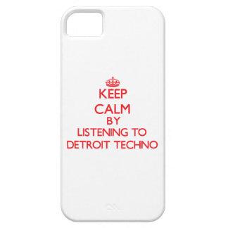 Guarde la calma escuchando DETROIT TECHNO iPhone 5 Protectores