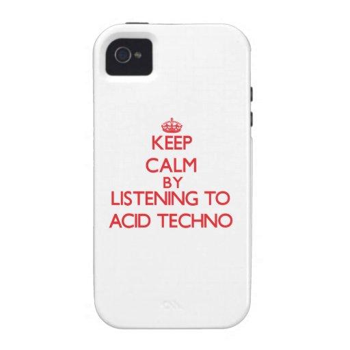 Guarde la calma escuchando el ÁCIDO TECHNO iPhone 4 Fundas