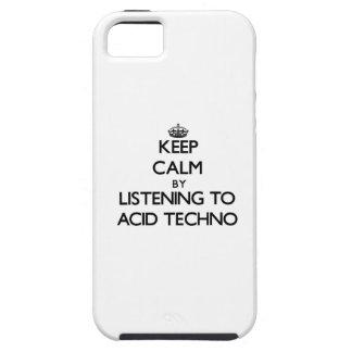 Guarde la calma escuchando el ÁCIDO TECHNO iPhone 5 Case-Mate Cobertura