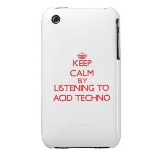 Guarde la calma escuchando el ÁCIDO TECHNO iPhone 3 Fundas
