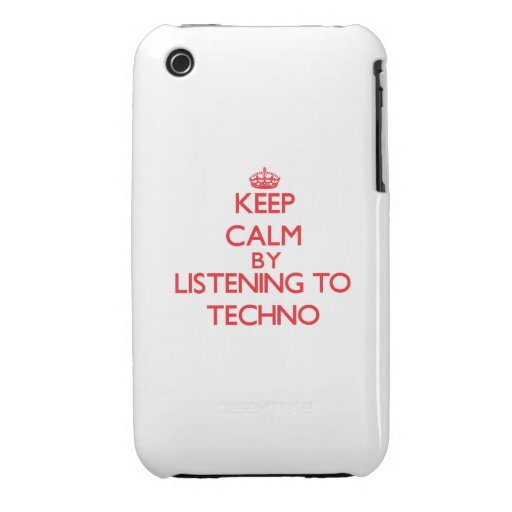 Guarde la calma escuchando TECHNO iPhone 3 Cárcasas