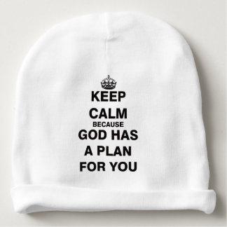 Guarde la calma porque dios tiene un plan para gorrito para bebe