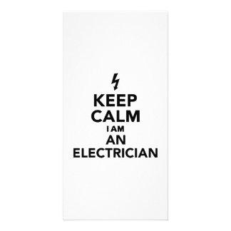 Guarde la calma que soy electricista tarjeta fotográfica