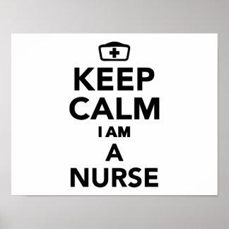 Guarde la calma que soy enfermera póster