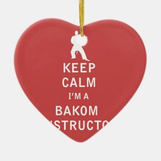 Guarde la calma que soy instructor de Bakom Adorno Navideño De Cerámica En Forma De Corazón