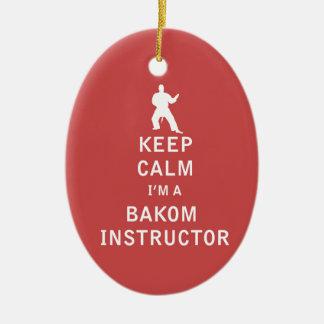 Guarde la calma que soy instructor de Bakom Adorno Navideño Ovalado De Cerámica