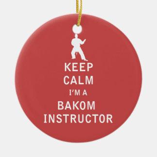 Guarde la calma que soy instructor de Bakom Adorno Navideño Redondo De Cerámica