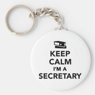 Guarde la calma que soy secretaria llavero redondo tipo chapa