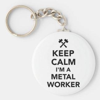 Guarde la calma que soy trabajador del metal llavero redondo tipo chapa