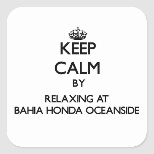 Guarde la calma relajándose en la costa Flo de Pegatinas Cuadradas Personalizadas