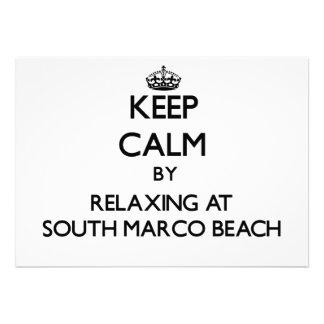 Guarde la calma relajándose en la playa del sur la comunicados personales