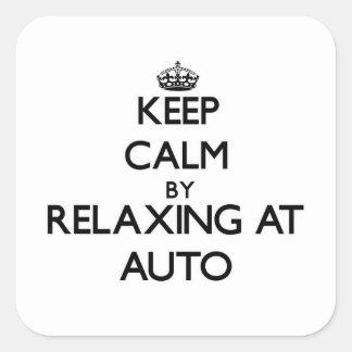 Guarde la calma relajándose en Samoa auto Calcomanía Cuadrada