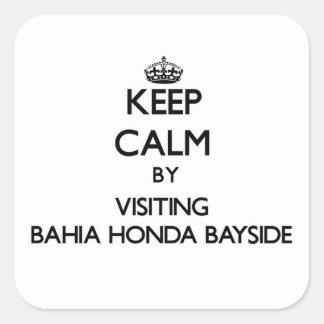 Guarde la calma visitando Bahía Honda Bayside la Calcomania Cuadradas
