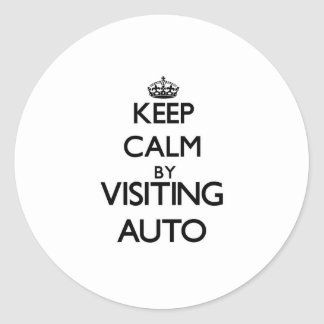 Guarde la calma visitando Samoa auto Etiquetas Redondas
