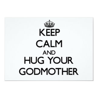 Guarde la calma y abrace a su madrina invitación 12,7 x 17,8 cm