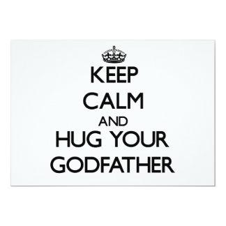 Guarde la calma y abrace a su padrino invitación 12,7 x 17,8 cm