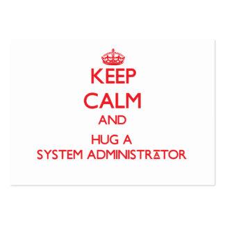 Guarde la calma y abrace a un administrador de sis tarjeta de visita