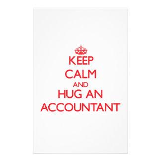 Guarde la calma y abrace a un contable papeleria de diseño