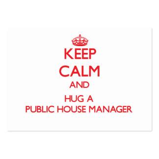 Guarde la calma y abrace a un encargado del bar tarjeta de visita