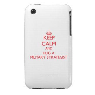 Guarde la calma y abrace a un estratega militar iPhone 3 Case-Mate cárcasa