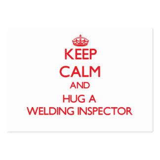 Guarde la calma y abrace a un inspector de la sold tarjetas de visita grandes