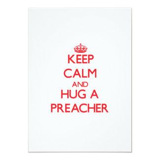 Guarde la calma y abrace a un predicador invitación 12,7 x 17,8 cm