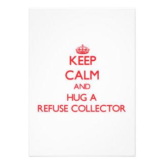 Guarde la calma y abrace un colector de basura invitaciones personalizada
