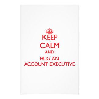 Guarde la calma y abrace un ejecutivo de cuenta papelería personalizada