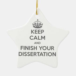 Guarde la calma y acabe su disertación adorno navideño de cerámica en forma de estrella