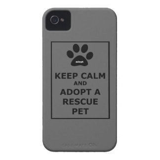 Guarde la calma y adopte a un mascota del rescate iPhone 4 cobertura