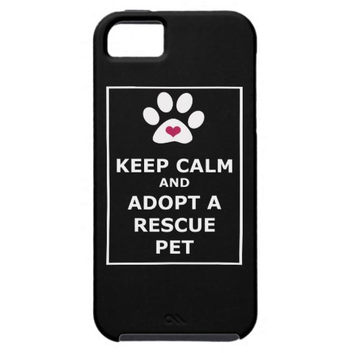 Guarde la calma y adopte a un mascota del rescate  iPhone 5 fundas