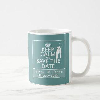 Guarde la calma y ahorre la fecha (completamente a taza básica blanca