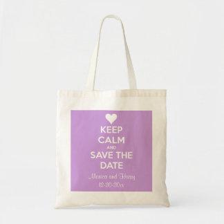 Guarde la calma y ahorre la lavanda de la fecha pe bolsa lienzo