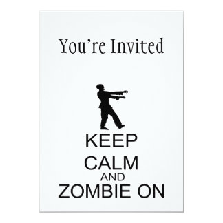 Guarde la calma y al zombi encendido invitación 12,7 x 17,8 cm