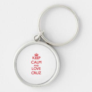 Guarde la calma y ame a Cruz Llaveros Personalizados