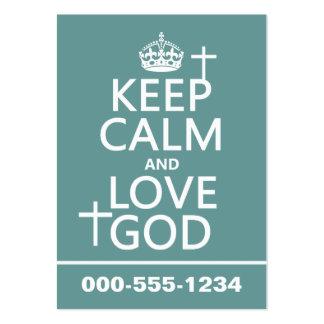 Guarde la calma y ame a dios - todos los colores plantilla de tarjeta personal
