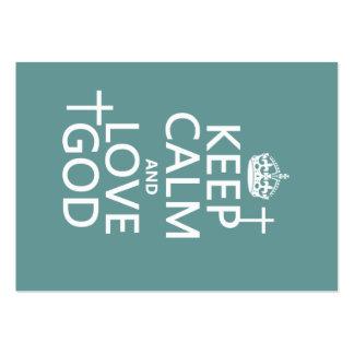 Guarde la calma y ame a dios - todos los colores tarjetas de visita