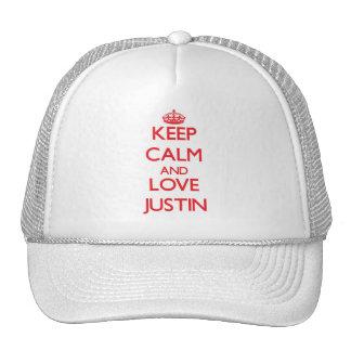 Guarde la calma y ame a Justin Gorros Bordados