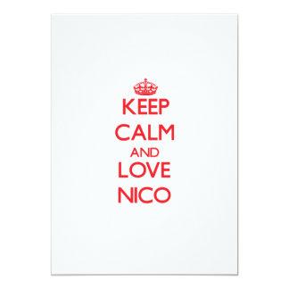 Guarde la calma y ame a Nico Invitación 12,7 X 17,8 Cm
