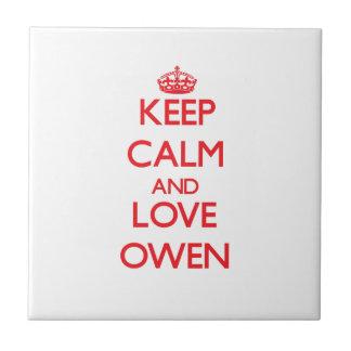 Guarde la calma y ame a Owen Azulejo Ceramica