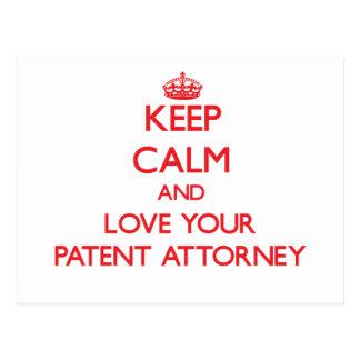 Guarde la calma y ame a su abogado de patentes postales