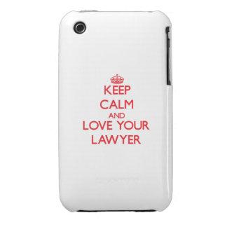 Guarde la calma y ame a su abogado iPhone 3 Case-Mate protectores