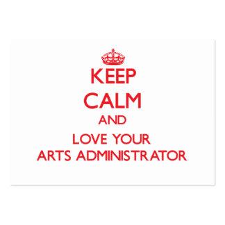 Guarde la calma y ame a su administrador de artes tarjetas de visita